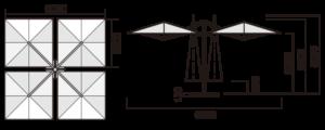 業務用大型パラソル「クアットロ(QT4360)」6m×6mスタンダード 寸法図